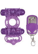 Macho Remote Control Dual Vibe Cockring Waterproof Purple